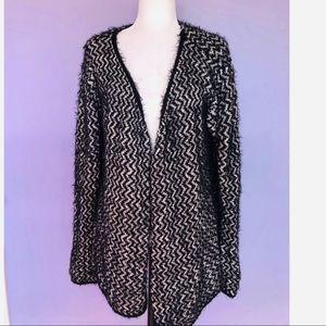 Jaclyn Smith black & white fuzzy sweater cardigan